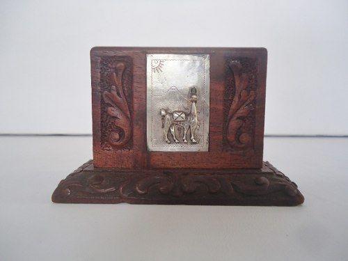 Antigo Porta Cartao Ou Porta Treco Em Madeira Detalhe Prata