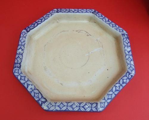 Antigo Cachepot Grande Com Prato Em Porcelana Azul
