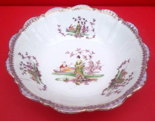 Antiga Saladeira Porcelana Borda Lilás E Ouro