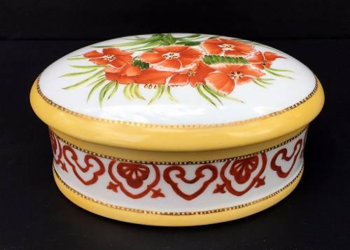 Linda Caixa Compoteira Em Porcelana Pintada A Mão