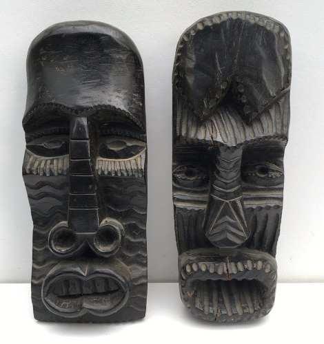 Arte Africana Grande Par De Esculturas Em Madeira Assinada
