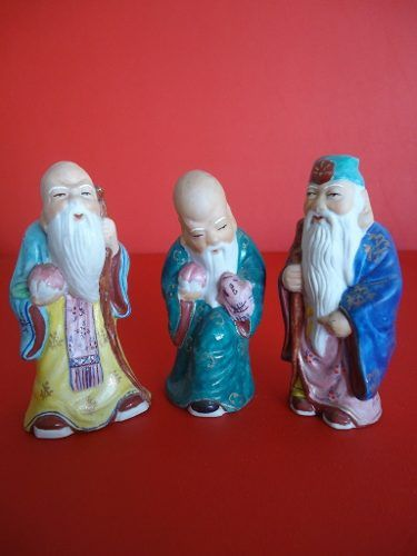Antigo Conjunto 7 Deuses Orientais Em Louça