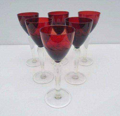 Conjunto De 6 Taças Em Vidro Rubi Suave Lapidação