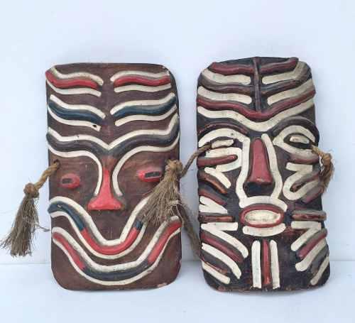 Antigo Par De Mascara Escultura Africana Em Ceramica