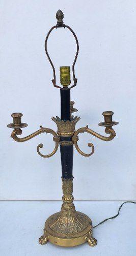 Antigo Candelabro 3 Velas Adaptado Para Luminária Em Metal