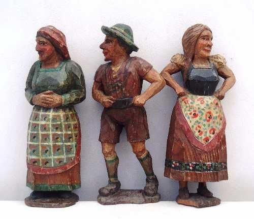 Antigo Trio De Escultura Em Madeira Alemão Ou Português