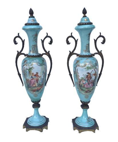 Antigo Par De Ânfora Porcelana Francesa Sevres Verde Piscina