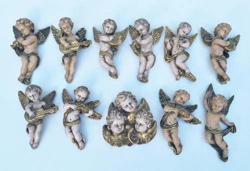 Antigo Conjunto De Anjos Musicais Em Gesso
