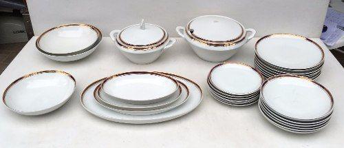 Conjunto De Jantar Porcelana Steatita Borda Vermelha