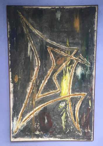 Quadro Oleo Sobre Tela Abstrato 143x92 Assinado
