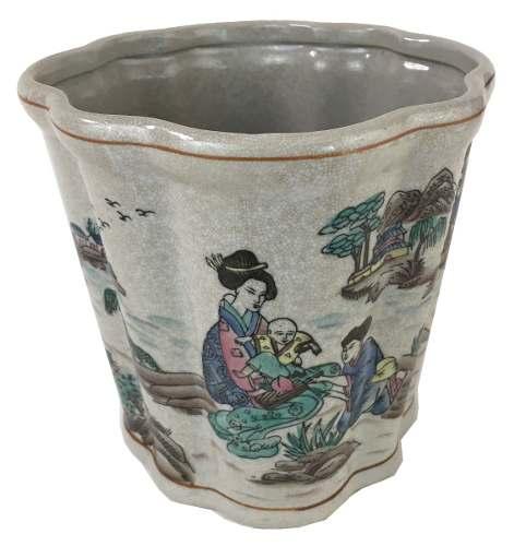 Vaso Cachepot Porcelana Oriental Belissimo