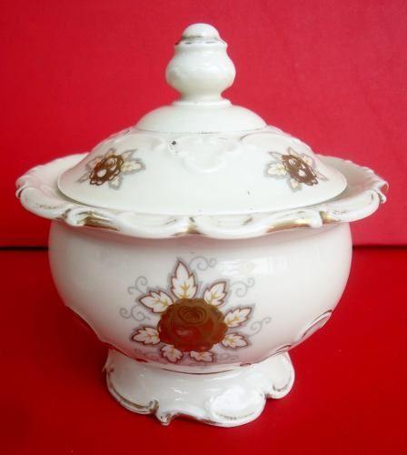 Linda Compoteira Em Porcelana Bavaria Detalhes Em Ouro