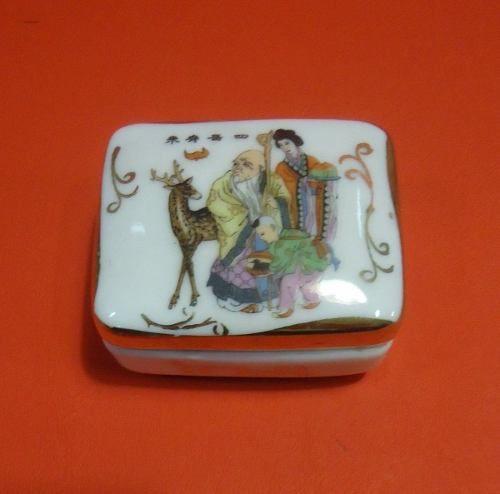 Antigo Par De Caixinha Em Porcelana