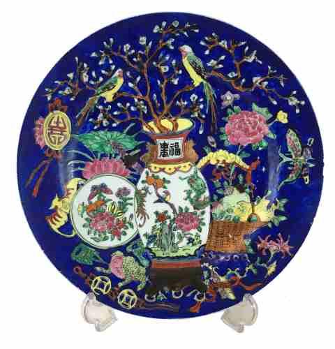 Belissimo Prato Porcelana Chinesa Policromada
