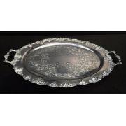 Belissima Bandeja Oval Espessurada A Prata Cachos De Uva