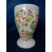 Antigo Vaso Em Vidro Leitoso Pintado A Mao Motivos Florais