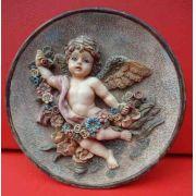 Antigo Quadrinho Feito Em Resina Figura De Anjo
