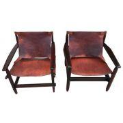 Antigo Par de Cadeira Design Anos 60 Em Jacaranda E Couro