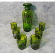 Antiga Licoreira Em Vidro Verde Com 6 Copinhos
