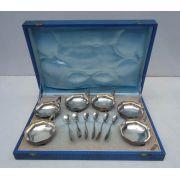 Antigo Conjunto Taças Sorvete + Colheres Prata 90 Eberle