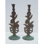 Par De Esculturas Apliques Em Metal Ramo De Flores