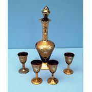 Antiga Licoreira Cristal Veneziano Com Calices Rico Em Ouro