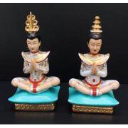 Antigo Par Esculturas Figuras Religiosa Oriental Porcelana