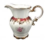 Antiga Leiteira Porcelana Real Rosa E Ouro
