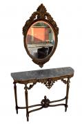 Aparador Antigo Luis Xvi Folheado A Ouro Com Espelho Bisotado