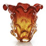 Lindo Vaso Em Cristal Murano Sao Marcos Vermelho E Ambar Com Bolhas