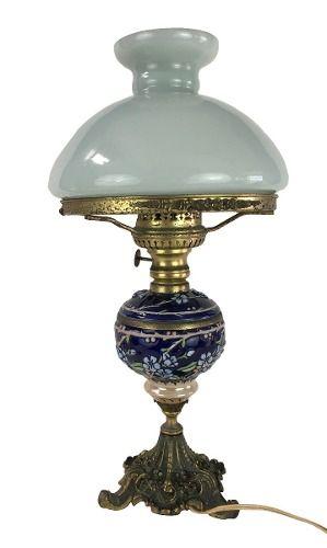Abajur Antigo Luminaria Em Bronze Bojo Porcelana