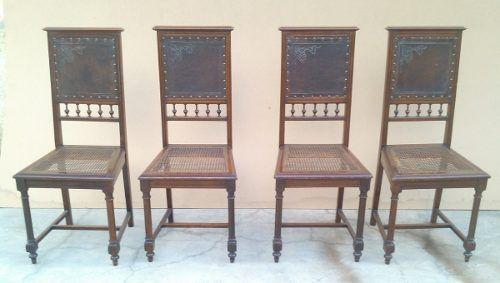 Magnifico Conjunto Cadeiras Palhinha Couro Legitimo
