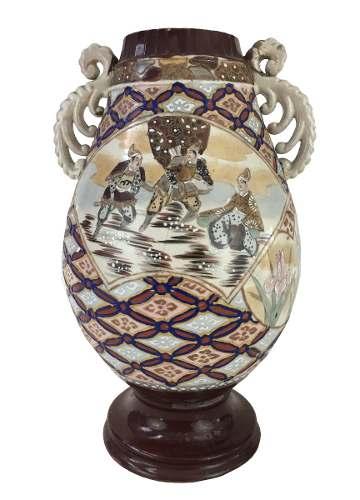 Antigo Vaso Porcelana Satsuma Bojuda 33cm