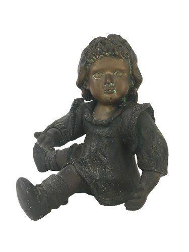 Magnifica Escultura Em Bronze Antiga Boneca Menina