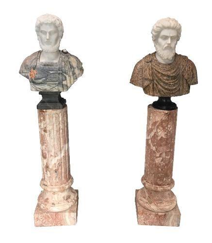 Magnifico Par De Esculturas Busto Em Marmore Italiano