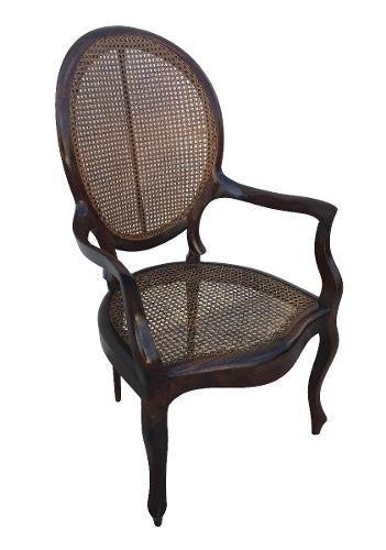Cadeira Antiga Medalhao Jacaranda Palhinha Indiana Com Braço