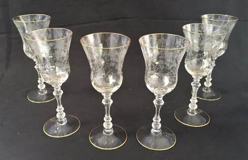 Antigo Conjunto Taças Cristal Saint Louis Borda Ouro
