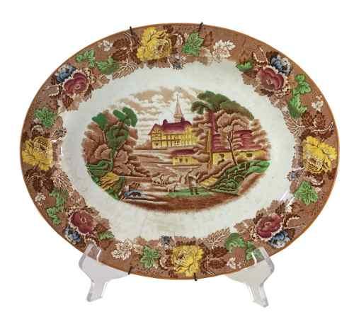 Antiga Travessa Porcelana Inglesa Fazendinha Woods Ware