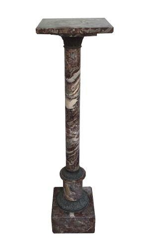 Antiga Coluna Pedestal Marmore Rajado E Bronze