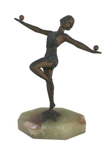 Antiga Escultura Em Bronze Art Deco Bailarina