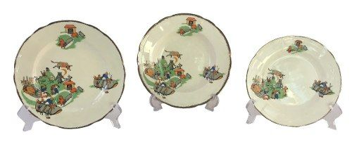 Lindo Trio De Pratos Porcelana Inglesa Antiga