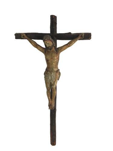 Antigo Crucifixo De Parede Cristo Na Cruz Em Madeira 59cm