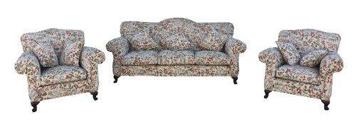 Antigo Conjunto Sofa E Poltronas Chipandelle Tecido Florido