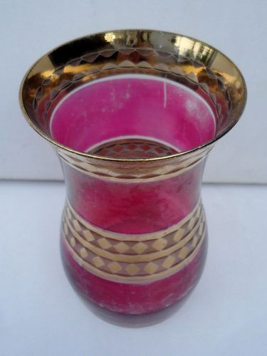 Antigo Vaso Em Vidro Rosa E Detalhes Em Ouro Alto Relevo