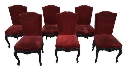 Conjunto 6 Cadeiras Luis Xv Belo Entalhes Madeira Nobre
