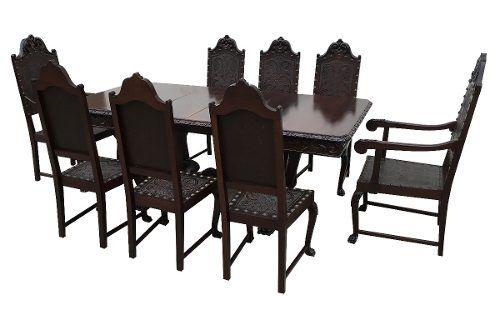 Antiguidade Mesa De Jantar Com 8 Cadeiras Renascença