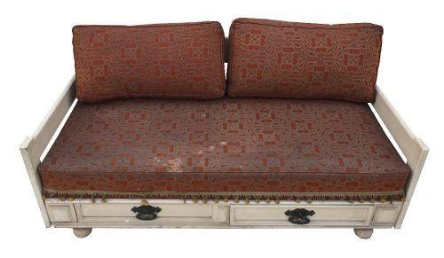 Antigo Sofa Cama Madeira Com Gaveta