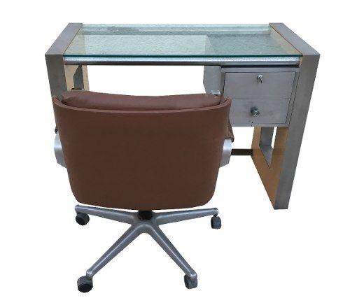 Escrivaninha Moveis Forma E Cadeira Couro Braço Jacaranda