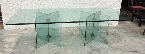 Mesa De Jantar Toda Em Vidro 2,70cmx1,30cm Sem Cadeiras