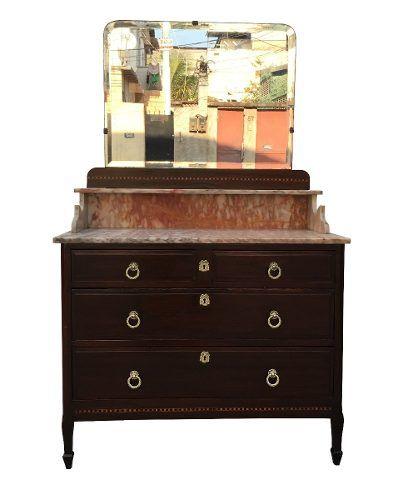 Antiga Comoda Marchetada Com Marmore E Espelho Bisotado